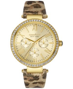 Caravelle New York by Bulova Women's Metallic Leopard Print Leather Strap Watch...