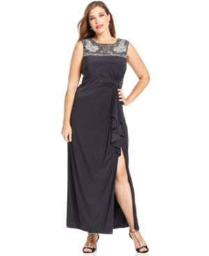 Patra Plus Size Embellished Ruffle Gown