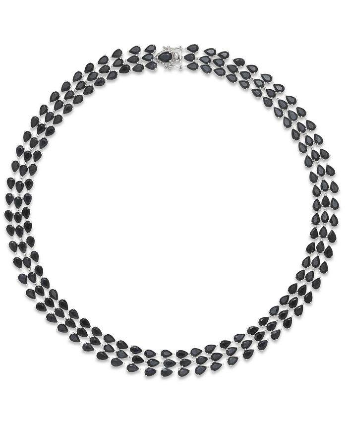 Macy's - Black Sapphire Three-Row Necklace in Sterling Silver (97 ct. t.w.)