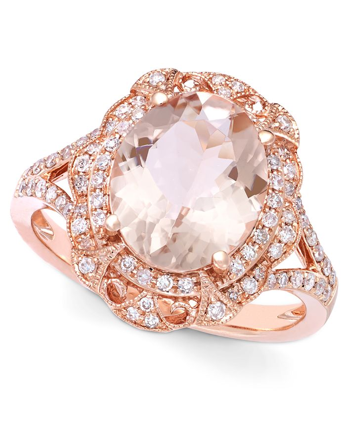 EFFY Collection - Morganite (3-1/8 ct. t.w.) and Diamond (1/4 ct. t.w.) Oval Ring in 14k Rose Gold