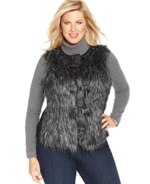 Jones New York Signature Plus Size Faux-Fur Vest