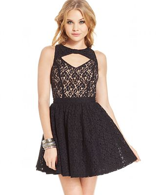 Material Girl Juniors Dress, Sleeveless Cutout Lace A-Line ...