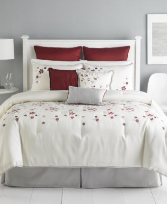 Martha Stewart Collection Cranberry Blossom 9 Piece King Comforter Set
