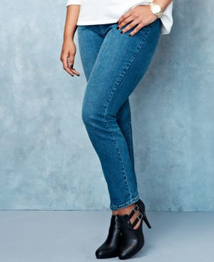 Style & Co. Plus Size Tummy-Control Slim-Leg Faith Wash Jeans, Only at Macy's