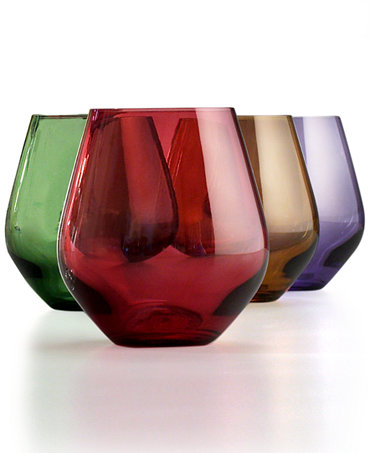 Lenox stemware tuscany harvest stemless wine glasses set of 4 glassware stemware dining - Lenox stemless red wine glasses ...