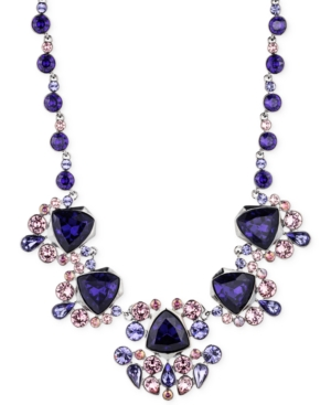 Givenchy heatite tone purple crystal collar necklace