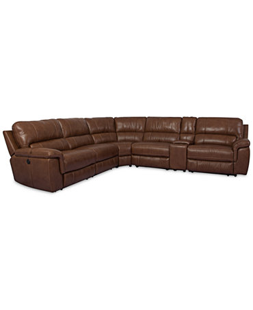 Brandie Leather 6 Piece Sectional Sofa With 3 Power