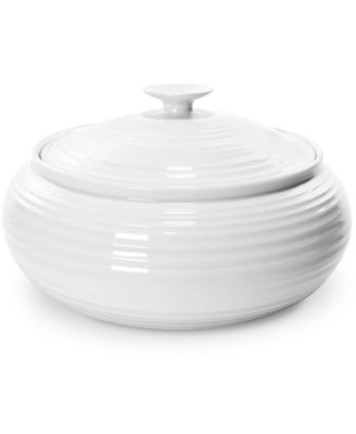 "Portmeirion ""Sophie Conran"" White Low, Covered Casserole, 6 pt."