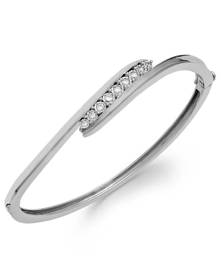 Macy's Diamond Swirl Bangle Bracelet in Sterling Silver (1/4 ct. t.w.) & Reviews - Bracelets - Jewelry & Watches - Macy's