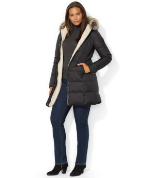 Lauren Ralph Lauren Plus Size Faux-Fur-Trim Down Puffer Coat