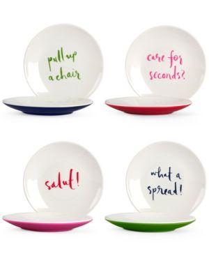 kate spade new york Set of 4 Sayings Melamine Tidbit Plates