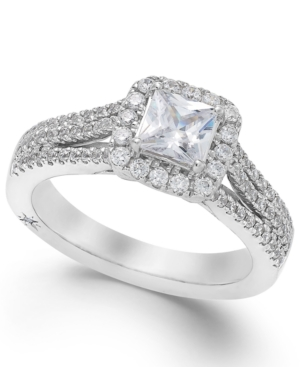 Celeste Halo by Marchesa Certified Diamond Split Shank Engagement Ring in 18k White Gold (1-1/5 ct. t.w.)