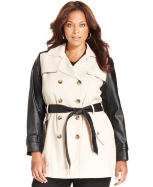 Jones New York Collection Plus Size Faux-Leather-Sleeve Trench Coat