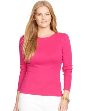 Lauren Ralph Lauren Plus Size Long-Sleeve Crew-Neck Top
