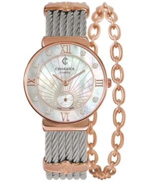 Charriol Women's Swiss St-Tropez Diamond Accent Two-Tone Steel Cable Chain Bracelet Watch (30mm)