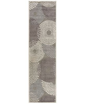 "CLOSEOUT! Nourison East Hampton Spiral Grey 2'3"" x 8' Runner Rug"