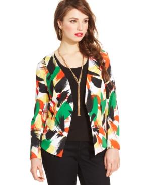 Modamix Plus Size Printed Blazer