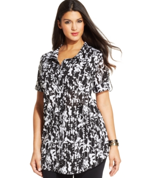 Style & co. Plus Size Tab-Sleeve Graphic-Print Tunic Shirt
