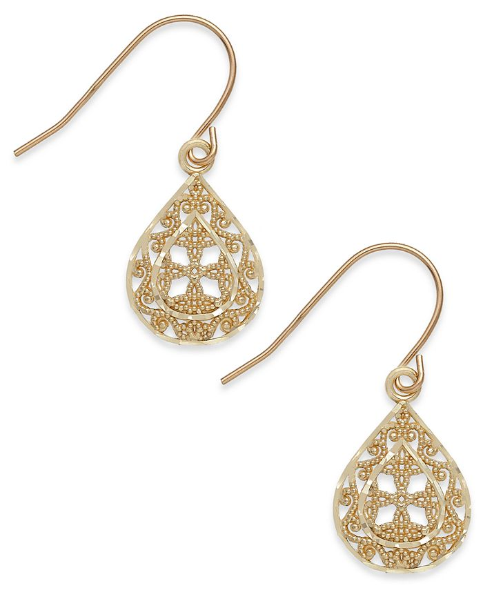 Macy's - Filigree Teardrop Earrings in 10k Gold