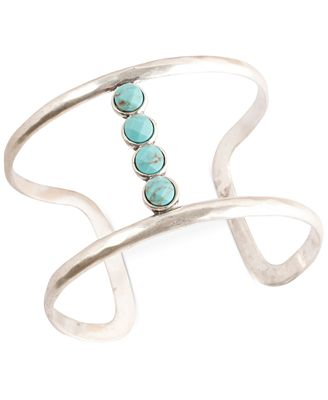 Lucky brand silver tone turquoise bar cuff bracelet for Macy s lucky brand jewelry