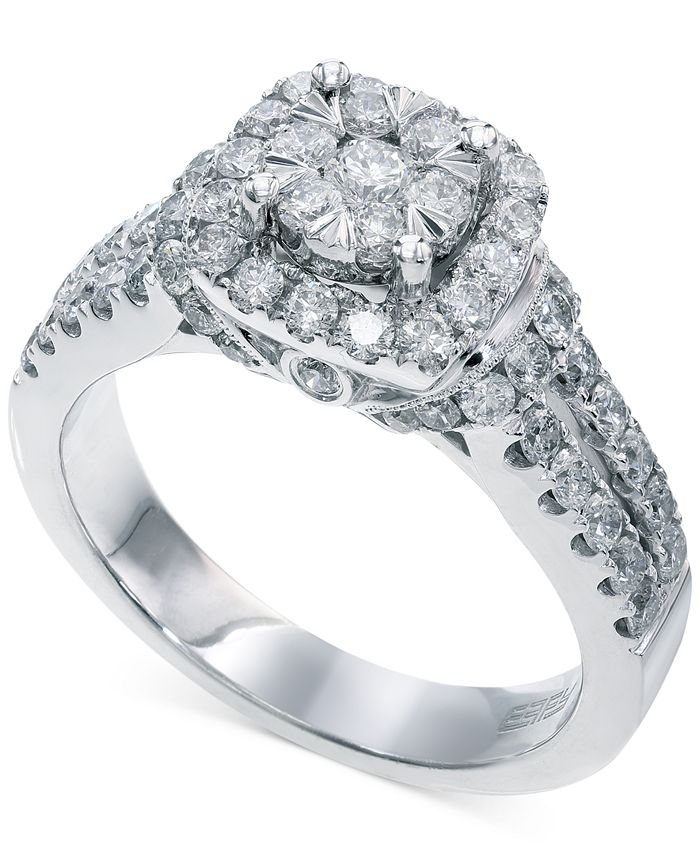 EFFY Collection - Diamond Square Halo Ring in 14k White Gold (1-1/4 ct. t.w.)