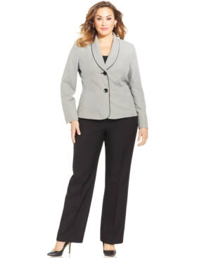 Le Suit Plus Size Houndstooth-Piped Pantsuit