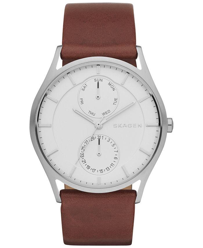 Skagen - Men's Holst Dark Brown Leather Strap Watch 40mm SKW6176