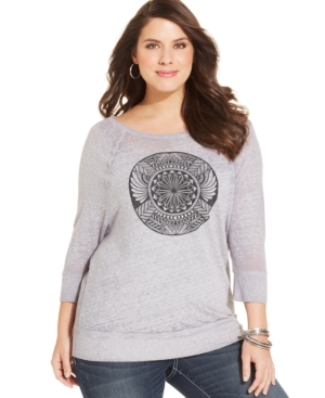Lucky Brand Plus Size Three-Quarter-Sleeve Printed Tee
