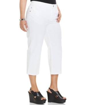 Lee Plus Size Cropped Jeans, White Wash