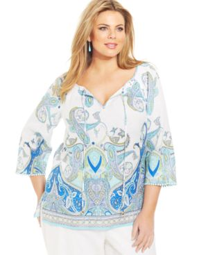 Charter Club Plus Size Linen Printed Peasant Top