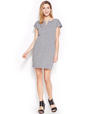 Eileen Fisher Split-Neck Sheath Dress