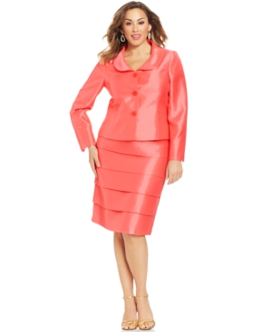 Le Suit Plus Size Tiered-Skirt Skirt Suit