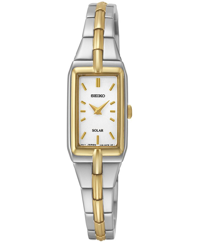 Seiko - Women's Solar Two-Tone Stainless Steel Bracelet Watch 15mm SUP272