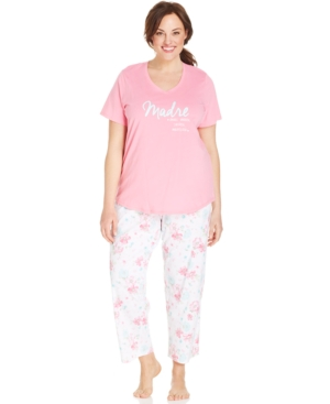 Charter Club Plus Size Madre Top and Floral Capri Pajama Pants Set