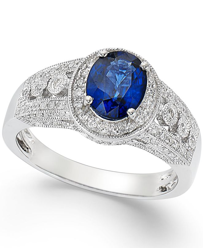 EFFY Collection EFFY® Sapphire (1-3/8 ct. t.w.) and Diamond (1/3 ct. t.w.) Ring in 14k White Gold