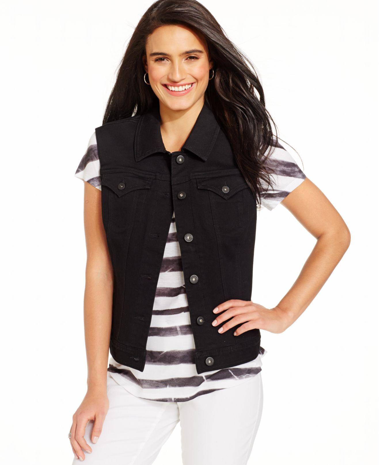 Denim sleeveless jacket for women