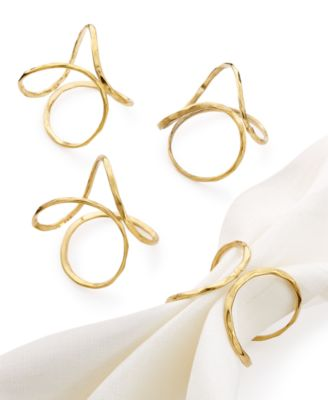 Excell Brass Squiggle Set of 4 Napkin Rings