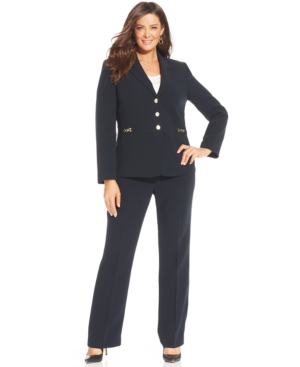 Tahari ASL Plus Size Three-Button Chain-Trim Pantsuit
