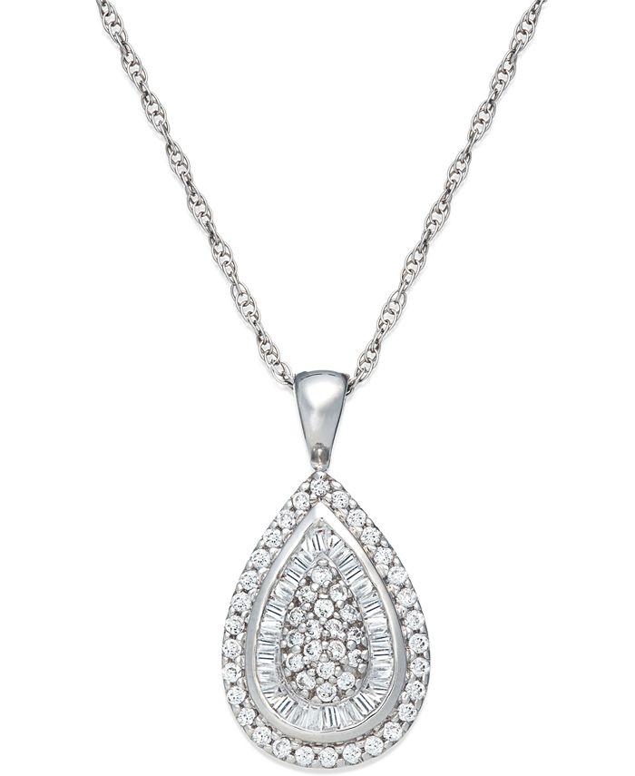 Wrapped in Love - Diamond Teardrop Pendant Necklace in 14k White Gold (1/2 ct. t.w.)