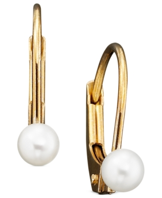 Children's 14k Gold Cultured Pearl Earrings