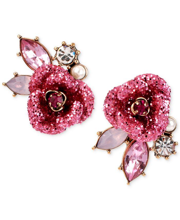 Betsey Johnson - Gold-Tone Glitter Rose Mismatch Stud Earrings