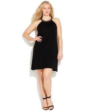 Calvin Klein Plus Size Chain-Neck Shift Dress