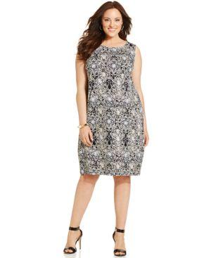 Jm Collection Plus Size Printed Shift Dress