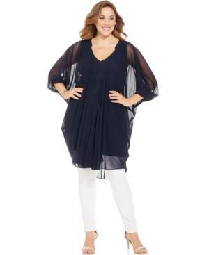 Alfani Plus Size Sheer Draped Tunic Top