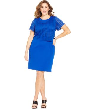 Spense Plus Size Perforated Shift Dress