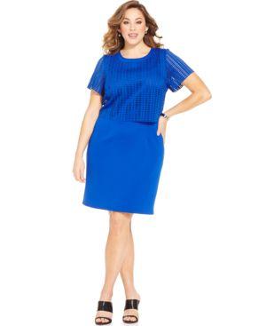 Spense Plus Size Perforated Shift Dress