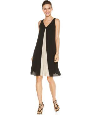 Alfani Plus Size V-Neck Colorblocked Shift Dress