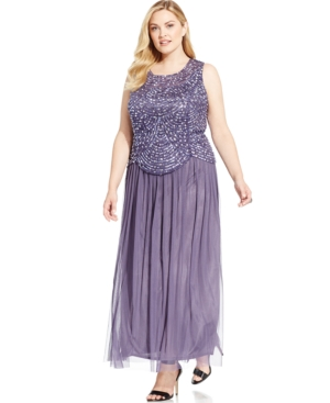 Patra Plus Size Embellished Popover Gown $107.99 AT vintagedancer.com