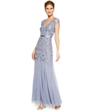 Adrianna Papell Beaded Chiffon Cap-Sleeve Gown $189.00 AT vintagedancer.com