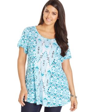 Style & co. Plus Size Ikat-Print Tunic Tee